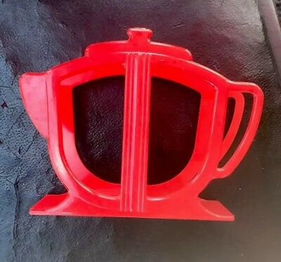 VINTAGE  RED PLASTIC TEAPOT NAPKIN HOLDER Marked A. Rogers Product Pre-Owned
