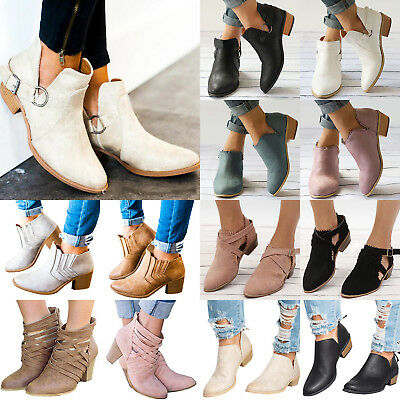 Women Ankle Boots Ladies Casual Mid Block Heel Chunky Booties Shoes Size 6-10.5