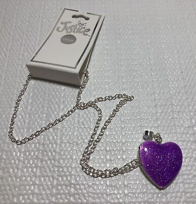 Justice Girls Costume Jewelry Silver Tone Necklace Heart Locket Purple Glitter