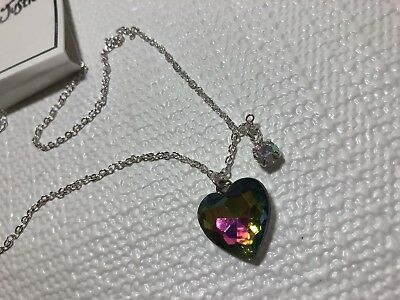 Justice Girls Costume Jewelry Silver Tone Necklace Rainbow Rhinestone Heart
