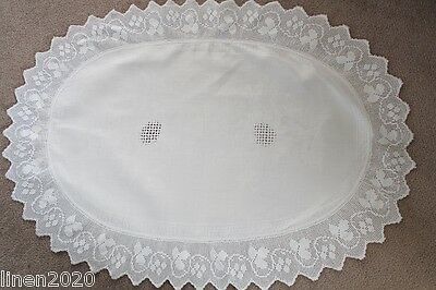 Vintage white oval shaped crocheted edge small table cloth /table topper.