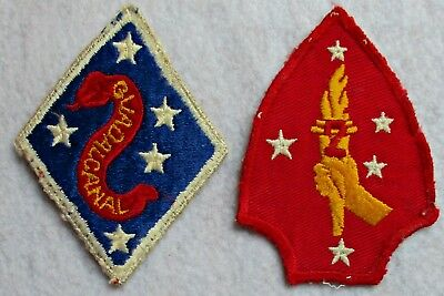 WWII USMC 2nd Marine Division Patches - Two Variations