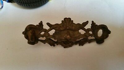 ANTIQUE VICTORIAN CAST BRASS DRAWER PULL LION HEAD 1870's ORNATE VINTAGE