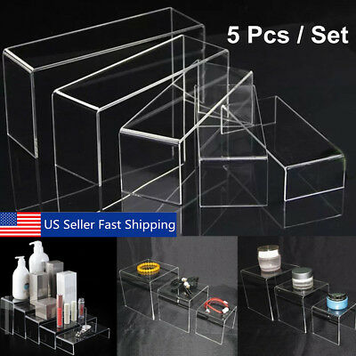5Pcs Clear Acrylic Perspex Sturdy Jewellery Display Riser Set Stand Showcase 4mm