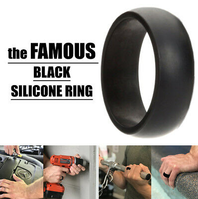 Mens Silicone Ring BLACK Wedding Rubber Band Hypoallergenic Flexible Comfortable
