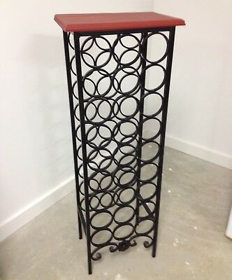 Free Standing Metal Black Wine Rack with Timber top - holds 27 bottles