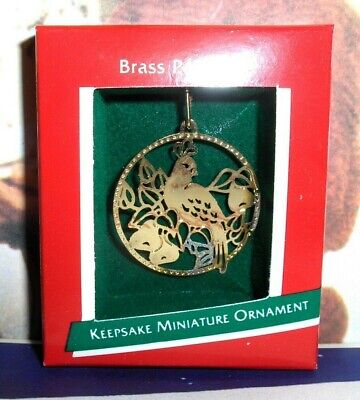 Brass Partridge`1989`Miniature-Etched,A Family Tradition,Hallmark Ornament->New