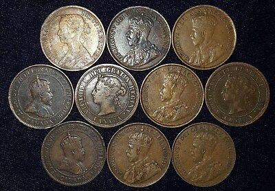 10 Large Cents from Canada.  1861-1936.  No Reserve!