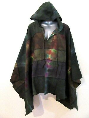 NEW Unisex Long Sleeve Vintage Finish Hooded Poncho Top SCA Medieval OS