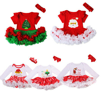 AU 2Pcs Infant Toddler Baby Girl Christmas Romper Bodysuit Tutu Dress Outfit Set