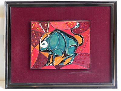 Vintage Pablo Cervantes Mexican Artists Mexico Bull Signed Tile Art Framed
