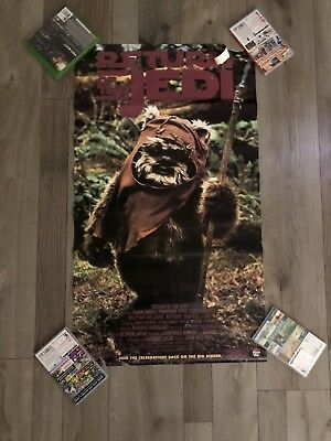 1997 PIZZA HUT PROMO RETURN OF THE JEDI SPECIAL EDITION 20x35 POSTER W/SCRIPT