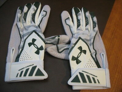 New Under Armour Yard Undeniable Adult Large Batting Gloves-Green/white/grey