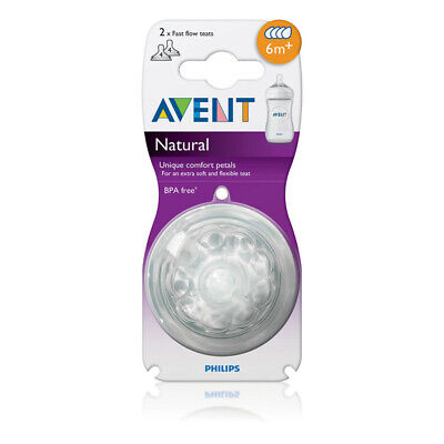 New AVENT Natural Teats 6M+ 2 Pack BPA Free Fast Flow Teat 6 Months +