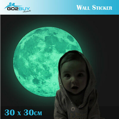 Moonlight Glow In The Dark Moon Wall Decal Sticker Ceiling Home Room Decor 30CM