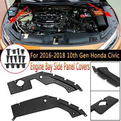 For 2016-201810th Gen Honda Civic Engine Bay Side Panel Covers pair Long Version