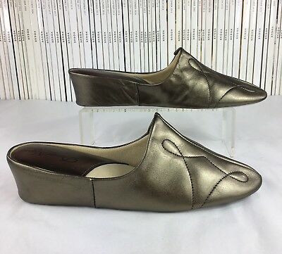 DAVID NIEPER leather mules slippers quilted metallic pewter wedge shoes UK 7 b02d35fa4