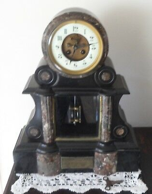 French Black Slate and Marble 1900's Clock,working.