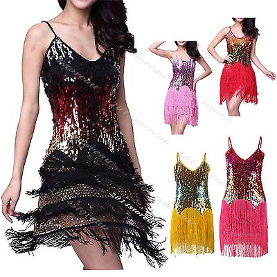 1920's Gatsby Dress Sequin Costume Tassel Flapper Latin Dresses 20s Fancy Outfit