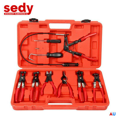 Hose Clamp Clip Pliers Kit 9-Piece Set Swivel Jaw Flat Angled Automotive Tool