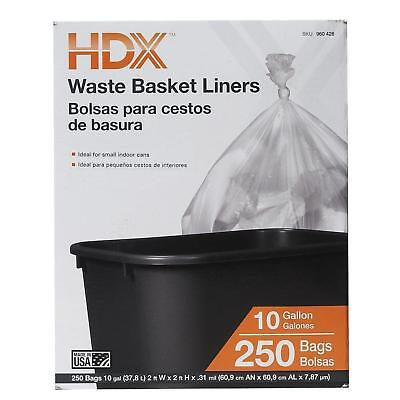 Waste Liner Clear Trash Garbage Rubbish Bags 250 Bag Count Office Home 10 Gallon
