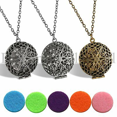 Essential Oil Diffuser Aromatherapy Locket Pendant Necklace with 5 Washable Pads