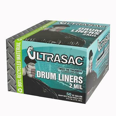 Garbage Trash Bags 55 Gallon 50 Count 2 Mil Thick Strong Black Drum Liner