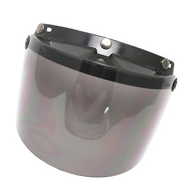 Universal Motorcycle 3 Snap-Button Visor with Flip-up Smoke Mirror Shield