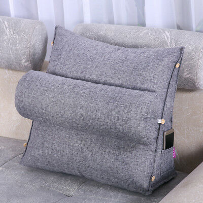 Adjustable Cotton Linen Wedge Cushion Pillow Back Support 20x45x45CM Hot