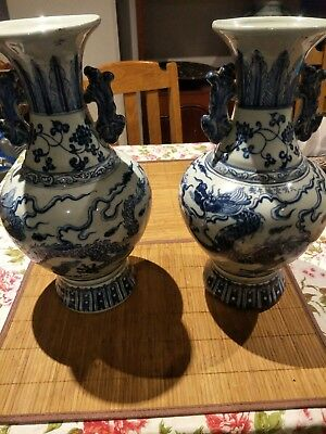 Chinese Hand Painted Dragon Vases Pair
