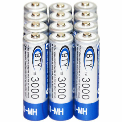 12 pcs AA LR06 3000mAh 1.2V NI-MH rechargeable battery CELL/RC 2A BTY