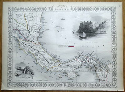 CENTRAL AMERICA, ISTHMUS OF PANAMA, COSTA RICA, Rapkin original antique map 1851