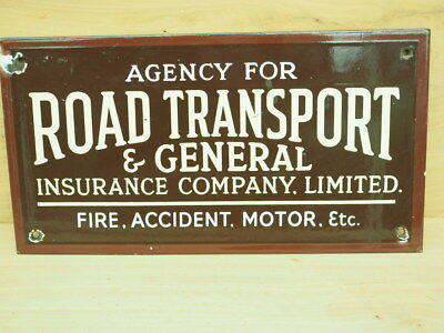 Old Enamel Road Transport Insurance Sign, Old Insurance Sign (L319)
