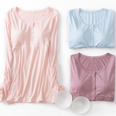 Nursing Breastfeeding Top Shirt Blouse W/ Removable Molded Cup Modal 8 10 12
