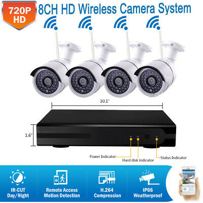 8CH WIRELESS OUTDOOR Security Camera System Kit with Hard