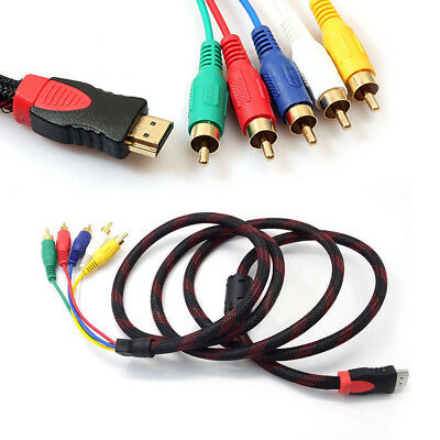 1080P HDMI Male to 5 RCA Audio Video Converter AV Adapter Component Cable RGB w1