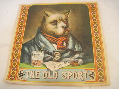 Old Vintage Paper Crate The Old Sport Dog Tobacco Mancave Advertising Sign