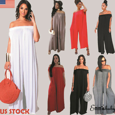 Us Plus Size Off Shoulder Summer Sexy Halter Wide Leg Rompers Womens