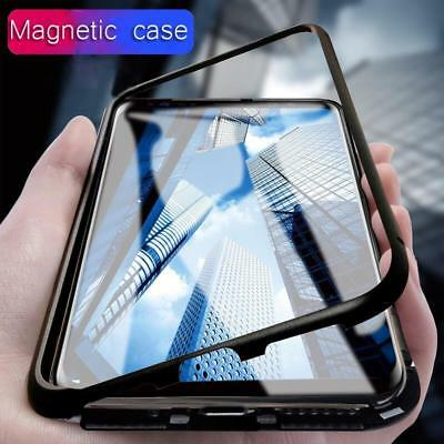 Magnetic Adsorption Flip Case Metal Tempered Glass Case Cover For Samsung Galaxy