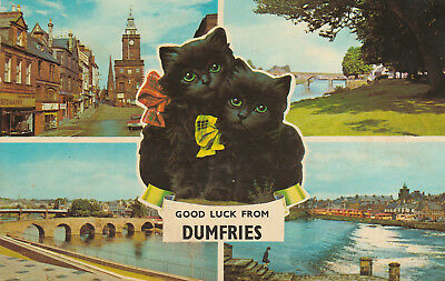 Good Luck From Dumfries Picture Scotland c.1972 Printed Posted Postcard
