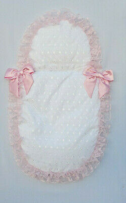 White Broderie Anglais Pram Set with Pink Lace and Two Pink Satin Bows