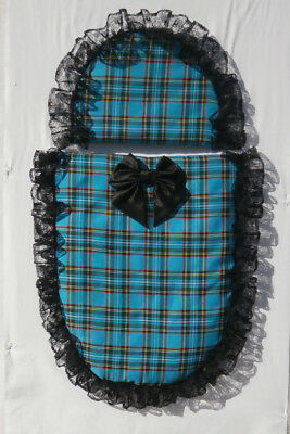 Turquoise Blue Tartan and Black Lace Moses Basket or Baby Pram Quilt Set