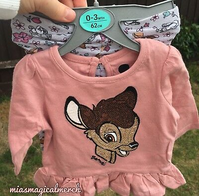 Brand New Primark Baby Girl's Disney Bambi Thumper Frilly 2 Piece Outfit