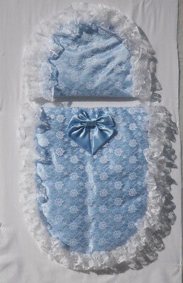 Baby Blue Satin With white Lace Oval Moses Basket or Baby Pram Quilt Set