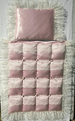 Pink Satin with Ivory Lace Padded Bubble Coach Pram Stroller Quilt Set