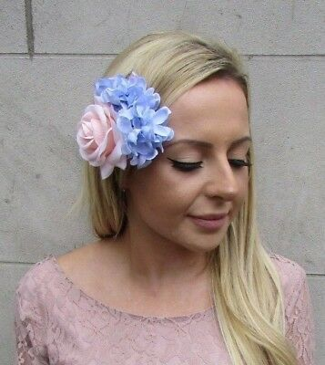 Blush Pale Pink Light Lilac Blue Rose Hydrangea Flower Hair Clip Fascinator 6052
