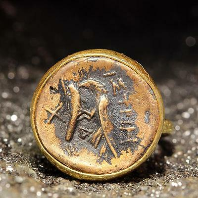 Ancient Roman Greek Art Hammered Signet Coin Ring 24K Gold over Sterling Silver