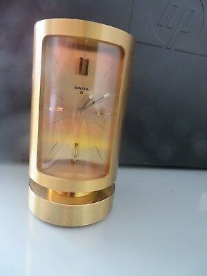 """Vintage Swiss Lacquered Brass Cased 8-Day Cylindrical Case Alarm Clock """"Swiza"""""""