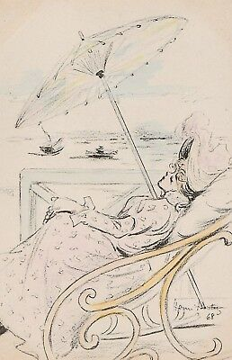 Henri Boutet  Art Nouveau  Glamourous Lady relaxes by the sea