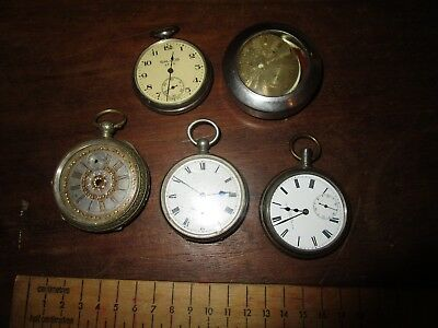 Collection of 5 Antique Pocket Watches for parts / repair - non-runners